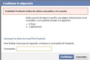 confirmar migración perfil a página facebook